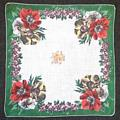 Green, Orange, Yellow Poppy Motif Vintage Hankie