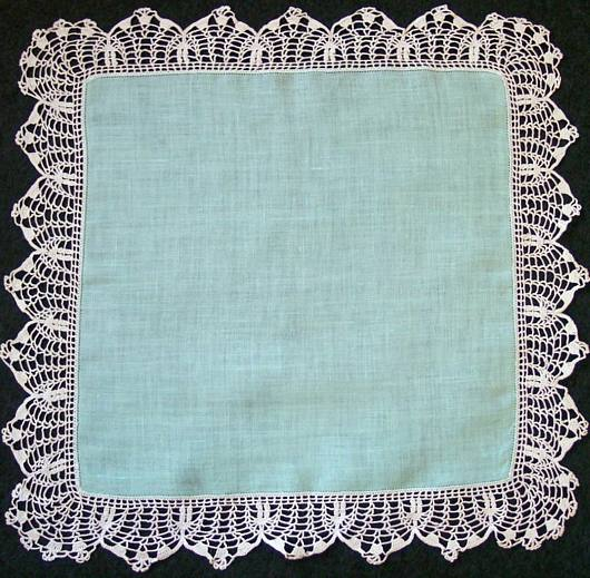 Aqua Linen Hankie with Scalloped Hand Crochet Edge
