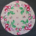 Cherries and Cherry Blossoms Vintage Round Hankie