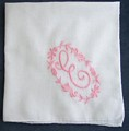 Monogram E Hankie, Pink on White