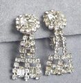Stunning Vintage Rhinestone Earrings Dangle Key Design