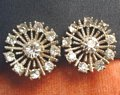 Vintage Rhinestone Estate Earrings Bold Snowflakes