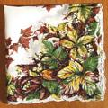 Autumn Leaves, Olive, Gold and Brown Vintage Handkerchief