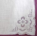 Intricate, Elaborate Pullwork Design on White Linen Hankie