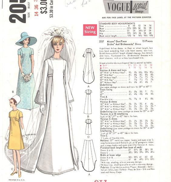 Vintage Vogue A-line Bridal Gown Pattern 2057 Bust 36 : Vintage ...