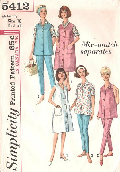 60's Maternity Separates Pattern Bust 31