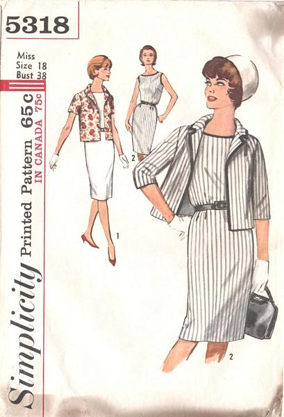Vintage 60's Simplicity Dress and Jacket Pattern 5318 Bust 38