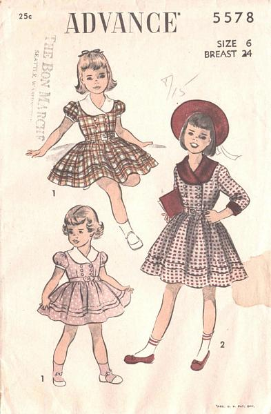 Vintage Girls Double Breasted Dress Pattern Size 6