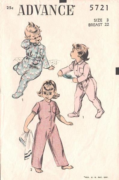 Vintage Toddlers Footed Sleeper Pattern Size 3