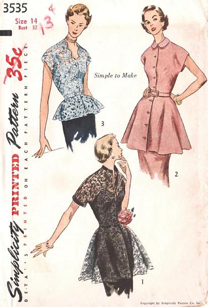 50's Tunic and Peplum Pattern Bust 32