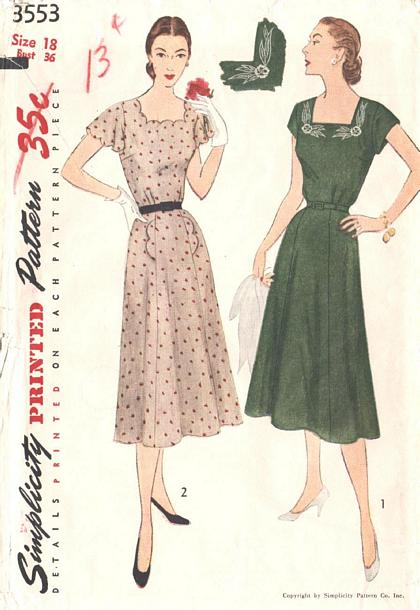 50's Vintage Scalloped Edge Dress Pattern Bust 36