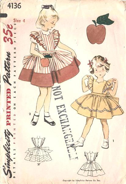 50's Pinafore Dress with Apple Pocket Pattern Size 4