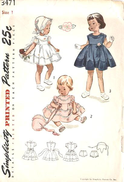 50's Toddler's Scallop Detail Dress Bonnet Panties Pattern Size