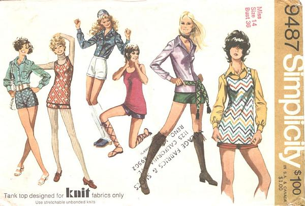 Vintage 70's Shorts, Blouse, Top Simplicity Pattern 9487 Bust 36