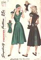 40's Inset U Neckline. Pleated Back Skirt Dress Pattern Bust 32
