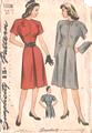 40's Raglan Sleeve Slash Neckline Dress Pattern Bust 32