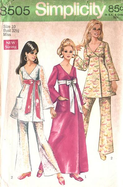 60's Front Wrap Dress, Tunic, Pants Pattern Bust 32.5