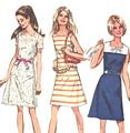 70's Vintage A-line Square Neckline Sailor Collar Dress Pattern