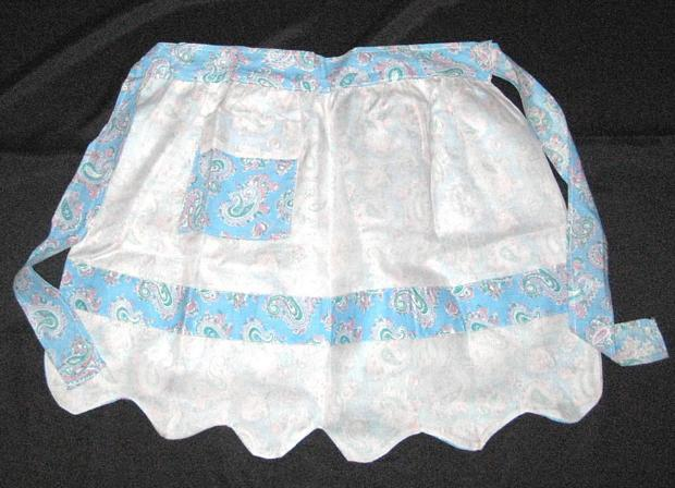 Reversible Blue Paisley and White Organdy Vintage Apron