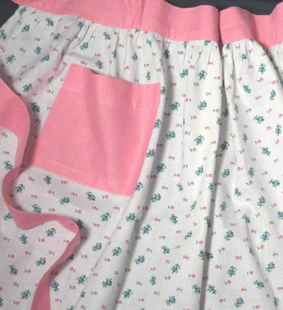 Pink, White and Blue Cotton Floral Ruffled Vintage Apron
