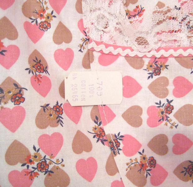 Pink and Caramel Hearts And Flowers Vintage Cotton Apron