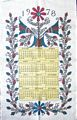 1978 Floral Pennsylvania Dutch Calendar Towel J. Geiroch