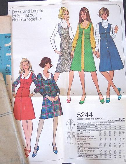 Simplicity 5244 Sixties Dress and Jumper Pattern Bust 31.5