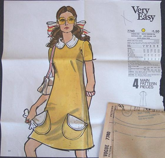 Vogue 7740 Sixties A-line Dress Pattern Bust 31.5