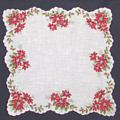 Poinsettias and Holly Vintage Christmas Hankie