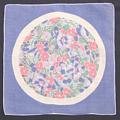 Periwinkle Circle of Flowers Vintage Hankie Rolled Hem