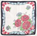 Red, White and Blue Zinnias Vintage Hankie