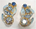 Vintage Blue Medley Rhinestone Earrings Ausrtia