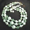 Vintage Triple Strand Necklace in Creamy Greens, West Germany