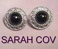 Sarah Coventry Jet Set Black Silvertone Clip On Earrings
