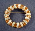 Amber Rhinestone and Aurora Borealis Circle Brooch