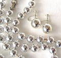 Super Silvertone Gloss Bead Vintage Necklace and Earring Set