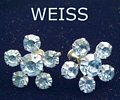 Signed Weiss Blue Rhinestone Flower Earrings