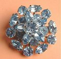 Vintage Blue Rhinestone Layer Estate Brooch
