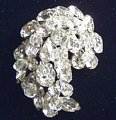 Huge Stellar Rhinestone Brooch Crystal Dangle Accents