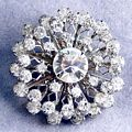 Triple Layer Vintage Rhinestone Cluster Brooch