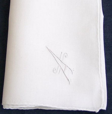Monogram A Extra Large Linen Handkerchief - Click Image to Close