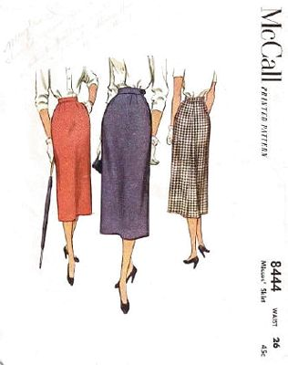 1950's McCall 8444 Long Line Slim Skirt Pattern Waist 26 - Click Image to Close