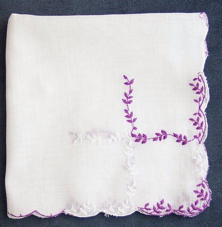 Fine Weight Hankie with Purple and White Embroidery - Click Image to Close