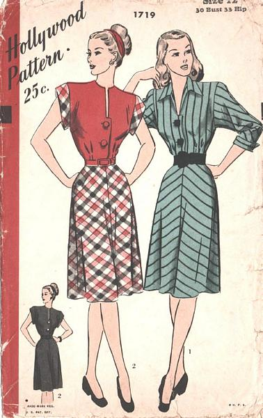 Dramatic 40's Hollywood Dress Pattern Bust 30 - Click Image to Close