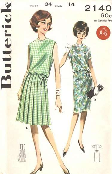 1960's Knife Pleat Skirt Blouson Dress Pattern Bust 34 - Click Image to Close