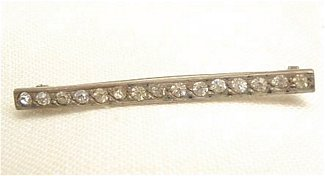 Pierced Back C Clasp Bar Pin with Glass Stones - Click Image to Close