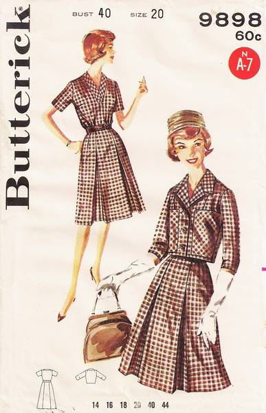 Early 60's Inverted Pleat Dress and Jacket Pattern Bust 40 - Click Image to Close
