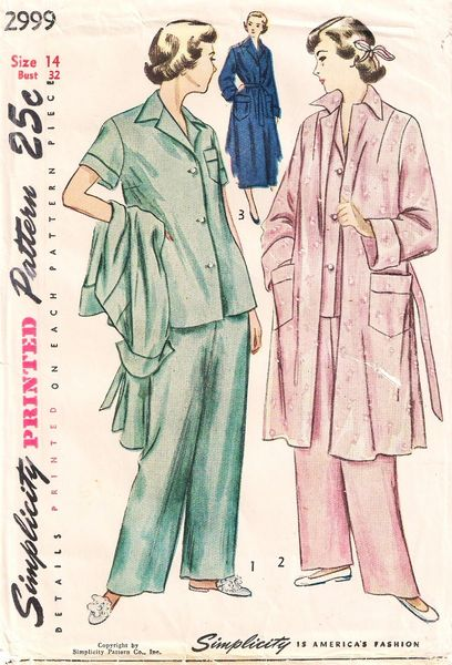 1940's Simplicity 2999 Misses Pajamas and Coat Pattern Bust 32 - Click Image to Close