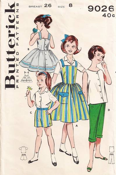 1950's Butterick 9026 Girls Sportswear Wardrobe Pattern Size 8 - Click Image to Close