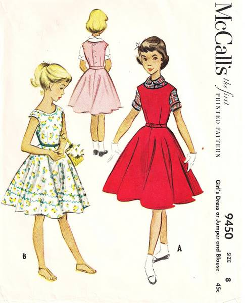 1950's Girls Circle Skirt Dress Jumper Blouse Pattern Size 8 - Click Image to Close